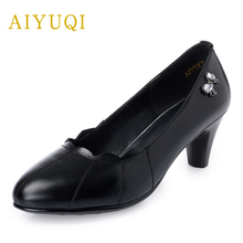 AIYUQI 2019 new autumn womens shoes genuine leather, pointed high-heeled commuter OL work shoes, platform black female