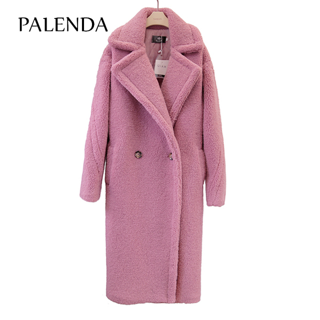 2018 new teddy coat faux fur long coat women lamb fur coat 4 color 5