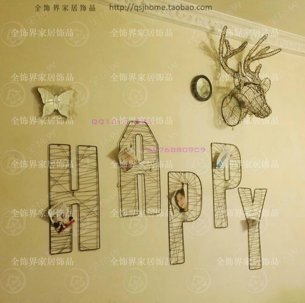 Fashion wire letter wall decoration metal wire wall art rock wall ...
