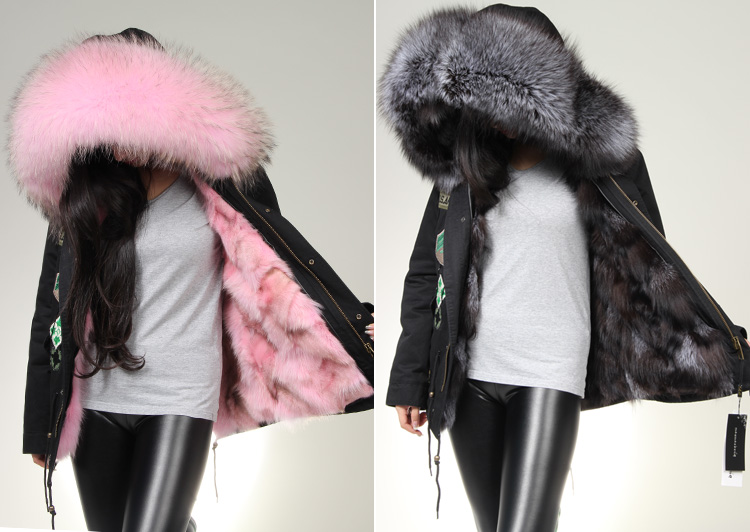 luxury ladies real fox fur parka coat Embroidery army shell genuine fox fur lining hooded jacket,winter warm fur overcoat