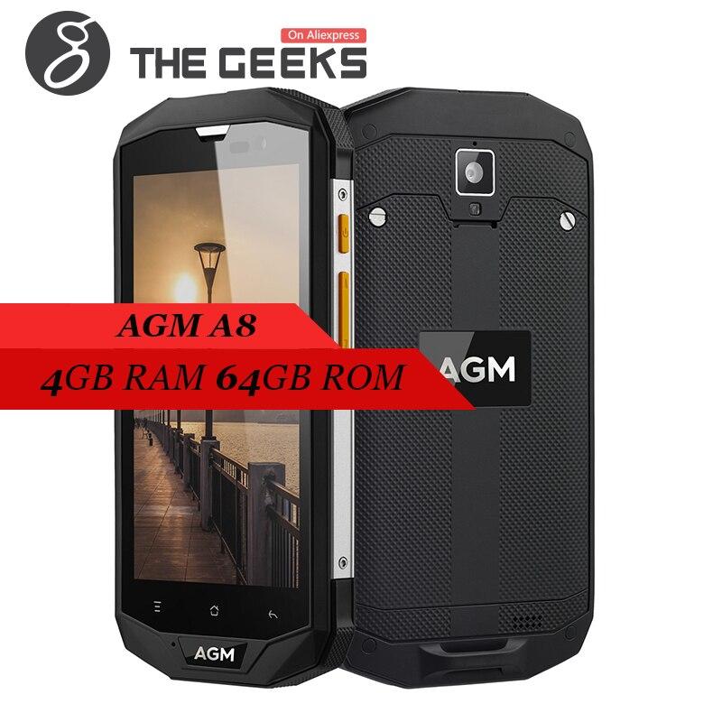 Original AGM A8 Android 7.0 anruf telefon IP68 Wasserdicht 3/4 gb + 32/64 gb Snapdragon 410 Quad core 5,0 zoll HD Bildschirm 4g Smartphone