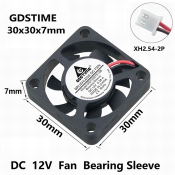 Gdstime 1 pcs DC 12V 30mm x 7mm Brushless Cooling Fan 3cm 3007 2Pin XH2.5 PH2.0 Small Cooler Fan 30x30x7mm