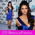 Vestido Azul Royal curto Nina Dobrev Celebridade Cocktail Party Regresso A Casa