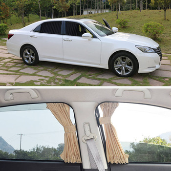 2 x zasłony rozciągliwy szyna aluminiowa po stronie samochodu osłona przeciwsłoneczna na okno szyby Sun bloku z przewód elastyczny czarny beżowy szary