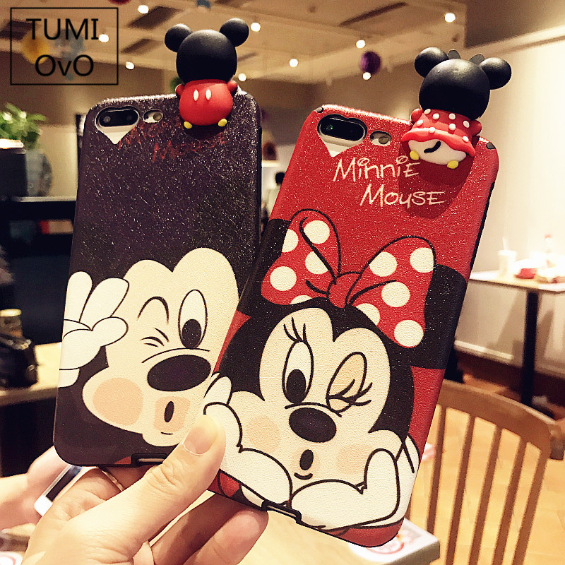 3D Cute Cartoon Mickey Minnie Mouse For iPhone X 10 Soft TPU Plastic Silk Pattern For iPhone 6 6s 7 8 Plus Back Cases Cover Capa