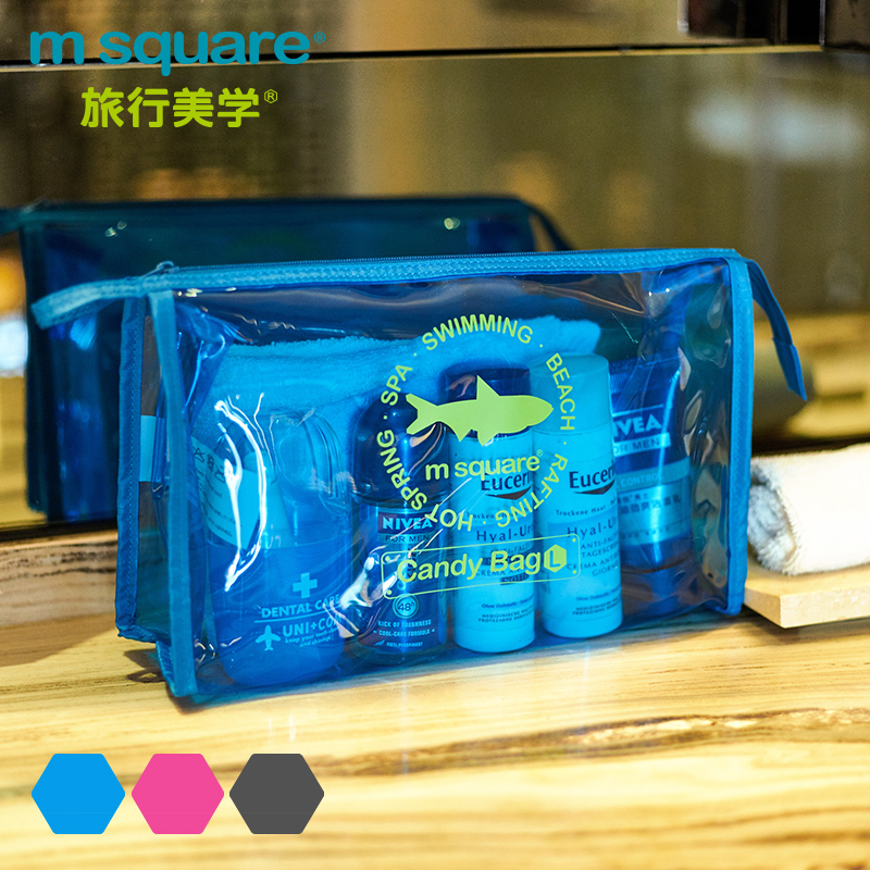 M Square Beautician Transparent Travel Cosmetic Bag For Make Up Organizer Wash Toiletry Bag Candy Color