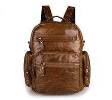 Maxdo Vintage Brown Genuine Leather Men / Women Backpacks Cowhide Men Travel Bags #M2751