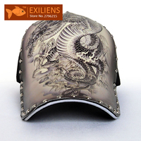 EXILIENS Baseball Cap New Fashion 3D Tattoo Personality Rivets Cotton Snapback Caps Strapback Bboy Hip