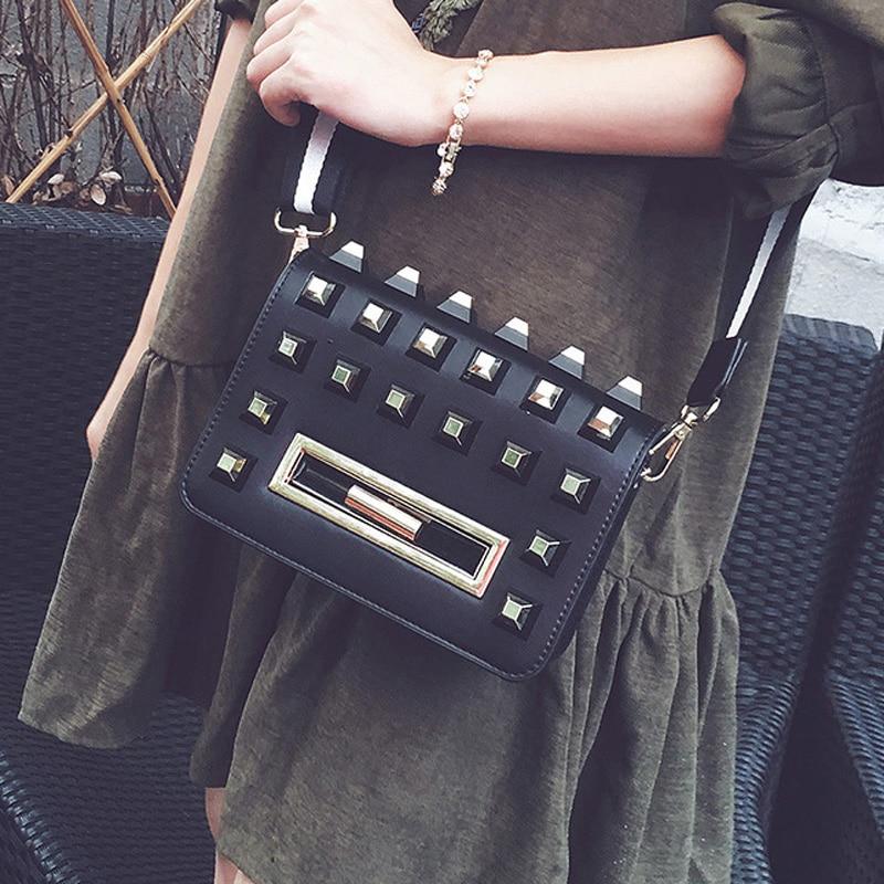 ФОТО Japan and South Korea    tide lock bag small square package rivet package leisure handbag shoulder bag Messenger bag