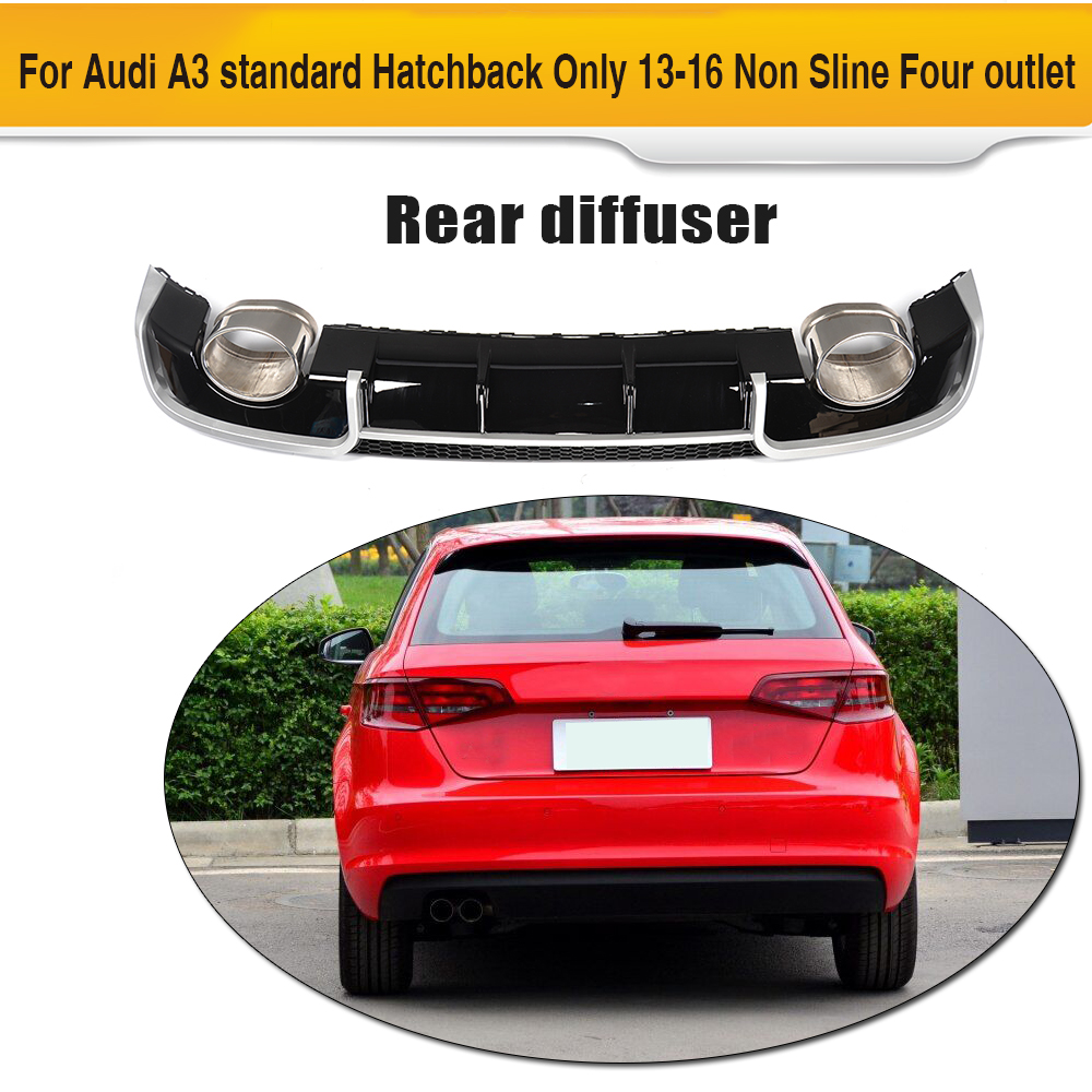 Black Rear Bumper lip diffuser With Exhaust tips muffer assembly for Audi A3 standard Hatchback Only 13-16 Non Sline Four outlet