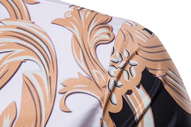 Camisa de vestir con estampado Floral dorado para hombre 2018 nuevo diseño de lujo camisa de manga corta ajustada para hombre estilo barroco Chemise homme