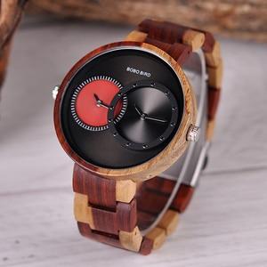 Image 3 - BOBO BIRD Two Time Zone Display Wood Watch Men Relogio Masculino Luxury Wristwatch Women Anniversary Grooms Gift Wooden Box R10
