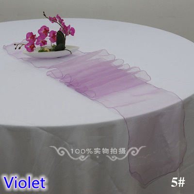 violet colour organza table runner crystal organza table decoration wedding hotel home banquet party tablecloth runner