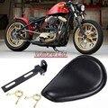 De alta Calidad de Cuero de La Motocicleta Solo Asiento + Soporte Negro Cubierta Fit para Harley Sportster Bobber Chopper Custom Honda Yamaha