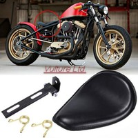 Di alta Qualità Motorcycle Sedile singolo In Pelle + Staffa Nero Della Copertura Fit per Harley Sportster Bobber Chopper Personalizzato Honda Yamaha