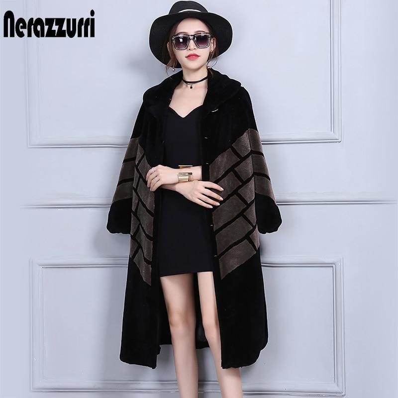 Nerazzurri Winter Real Fur Coat Women Long Elegant Plus Size Patchwork Sheepskin Outwear 5XL 6XL Wool Sheep Shearling Overcoat