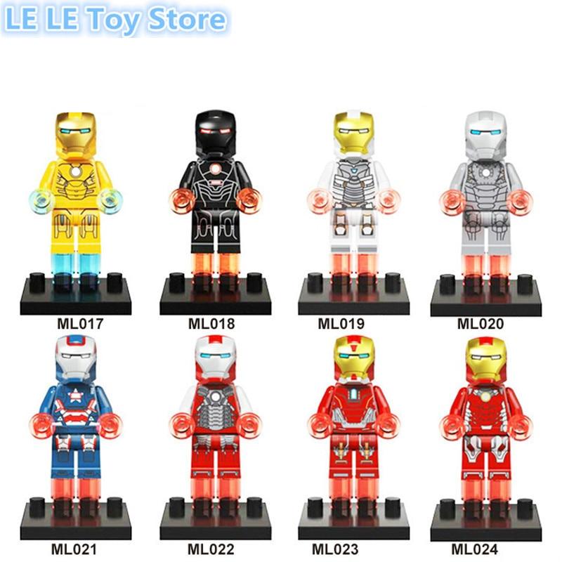 8 шт./лот Marvel Мстители Super Heroes Железный человек War Machine MK1 MK2 Ironman Патриот Строительный Блок Цифры Игрушки Детям Подарок
