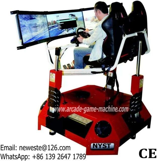 NYST passionnant dynamique équipement d'amusement adultes jeux d'arcade 3 écrans 3D vidéo VR simulateur conduire voiture course Machine de jeu