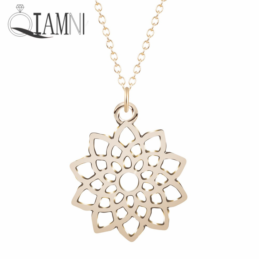 Online get cheap flower girl necklace aliexpress alibaba group qiamni handmade crown seventh chakra flower yoga pendant necklace christmas gift women girls accessories minimalist jewelry dhlflorist Image collections