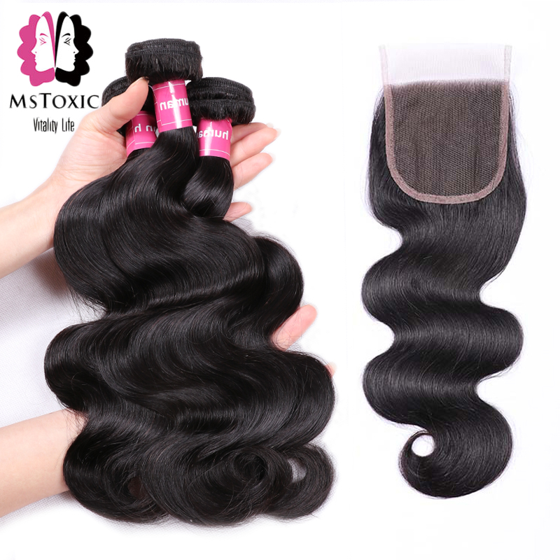 Mstoxic Body Wave Bundles With Closure Brazilian Hair Bundles With Closure Non Remy Human Hair Bundles With Closure 4pcs/lot