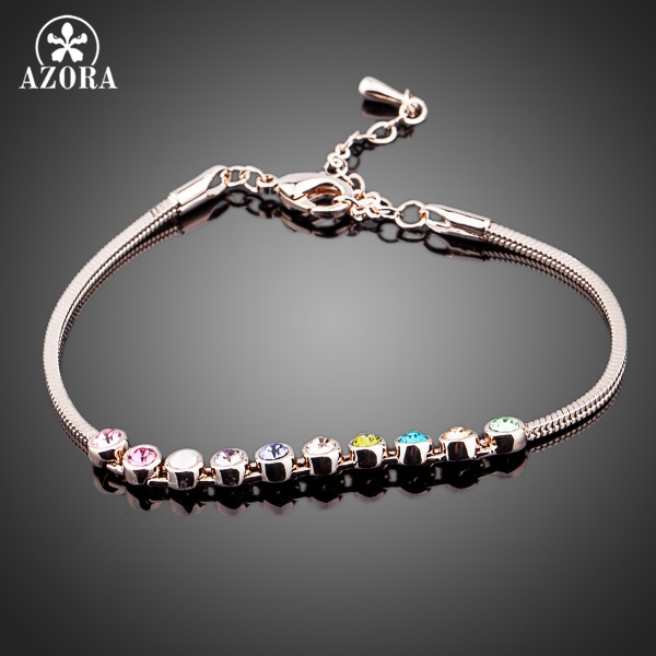 AZORA Multicolour Exquisite Ball Rose Gold Color Stellux Austrian Crystal Jewelry Bracelets TS0027