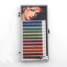 12rows tray 6 Colors  Colored Eyelash Extension  Faux Mink color