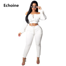 купить Women Grommet Lace Up Pants Set 2 Pieces Set Sexy Off Shoulder Top Women Tracksuit Sportwear Crop Top High Waist  Sweatshirt по цене 1426.37 рублей