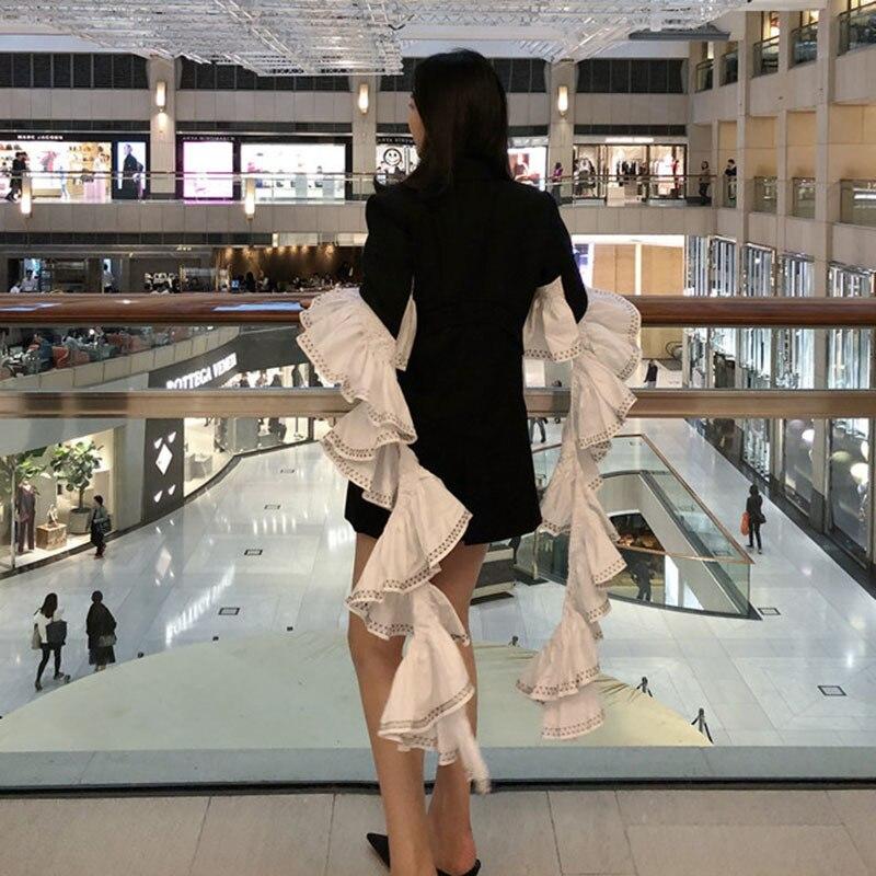 Mode shengpalae La327 Nouvelles Strshengpalaeer Manteau Volants Printemps Blanc Femmes 2019 Black À Veste Patchwork Mince Manches Pleine rwZqCrnt5