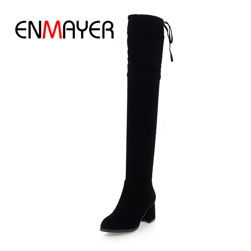 ENMAYER Black Red Brown Lace Up Thigh High Boots Flock Wedges Pointed Elegant Over Knee High Boots Female Winter Shoes CR942ENMAYER Black Red Brown Lace Up Thigh High Boots Flock Wedges Pointed Elegant Over Knee High Boots Female Winter Shoes CR942