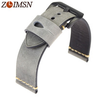 ZLIMSN Mens Watchbands Italy Genuine Leathe Watch Band Thick Lady New Watch Strap Belt Steel Pin