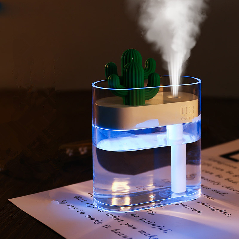 160ML Ultrasonic Air Humidifier Clear Cactus Color Light USB Essential Oil Diffuser Car Purifier Aroma Diffusor Anion Mist Maker(China)