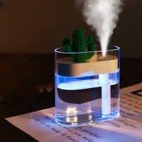 Humidificador de aire ultrasónico de 160ML luz de Color de Cactus difusor de aceite esencial USB purificador de Aroma difusor de vapor anión