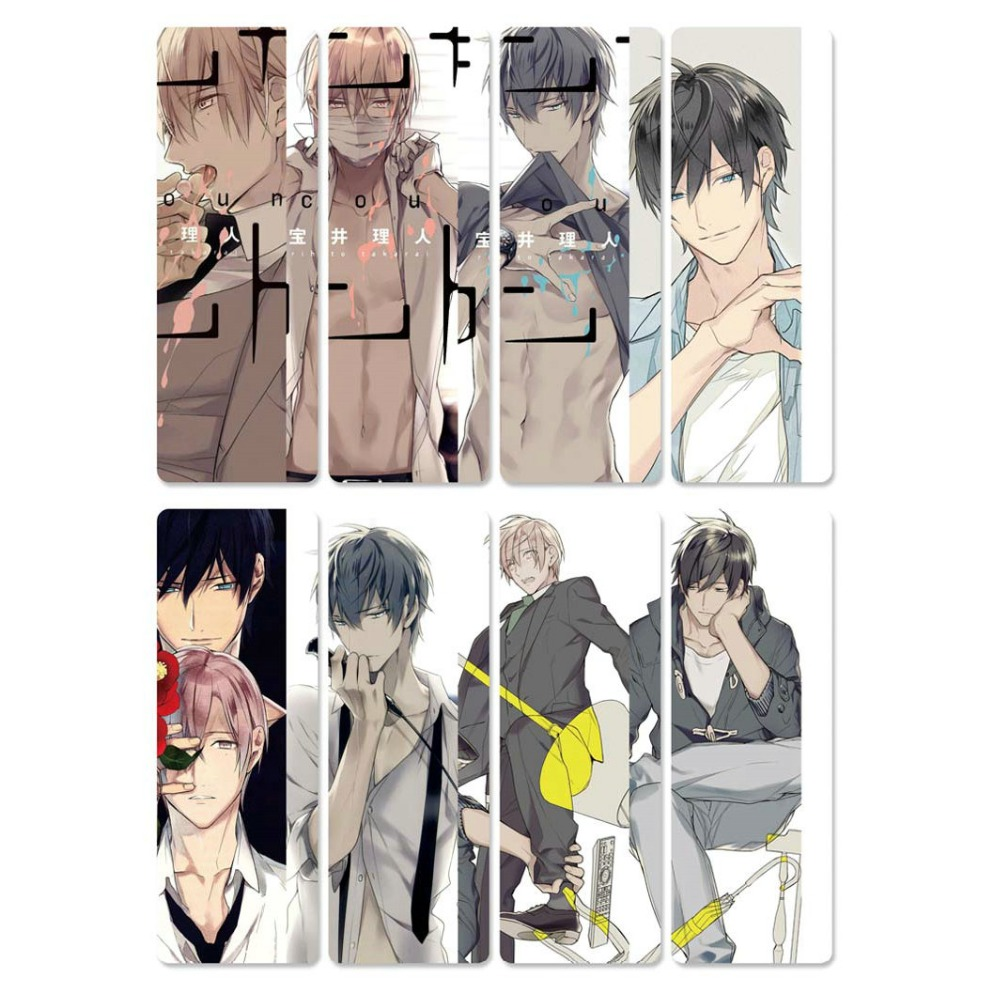8pcs 10 Count Anime Bookmarks Waterproof Transparent PVC Plastic Book Marks Cartoon Gift