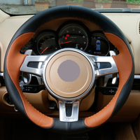 Black Leather Brown Leather Car Steering Wheel Covers for Porsche Cayenne Panamera 2012 2013 2014 auto Steering Covers