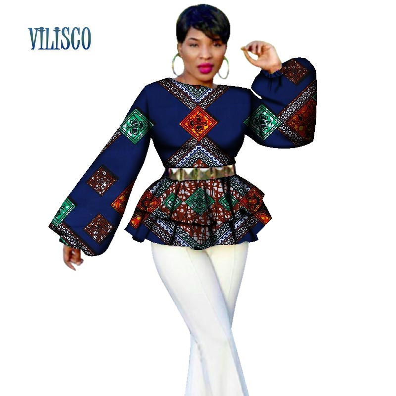 New African Bazin Riche Tops Tees for Women Plus Size Traditional Women African Print Puff Sleeve Tops Clothing Dashiki WY2689