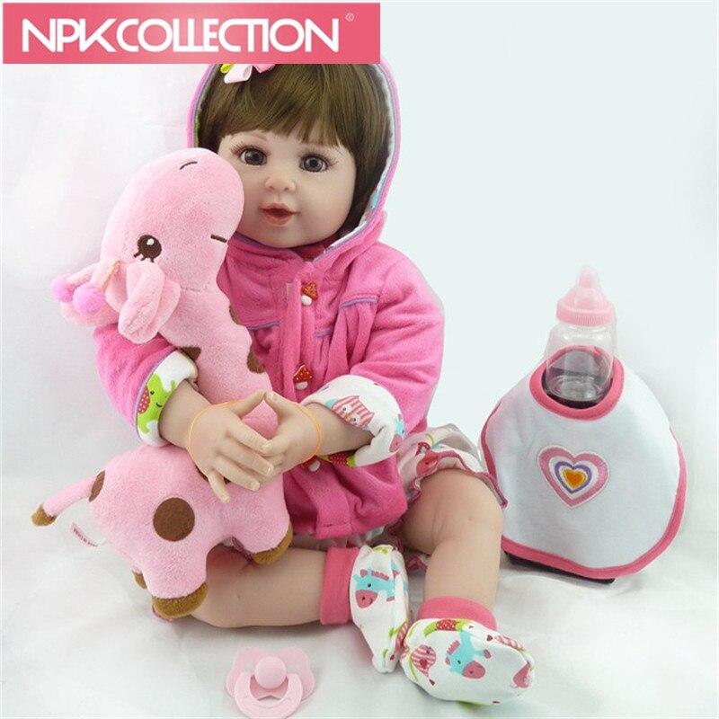 22'55cm New arrival Handmade Silicone vinyl adorable Lifelike toddler Baby Bonecas girl kid bebe doll reborn menina de silicone