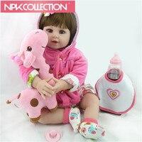 22 55cm New Arrival Handmade Silicone Vinyl Adorable Lifelike Toddler Baby Bonecas Girl Kid Bebe Doll
