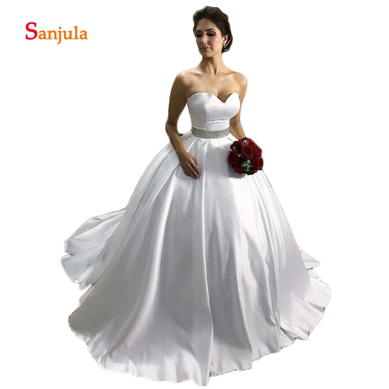 5d0ff6d315cf White Satin Ball Gown Wedding Dresses for Bridal Sweetheart Beaded Waist  Simple Country Wedding Gowns vestidos de boda D462 ~ Hot Deal July 2019
