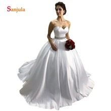 Sunzeus White Satin Ball Gown Wedding Dresses Gowns
