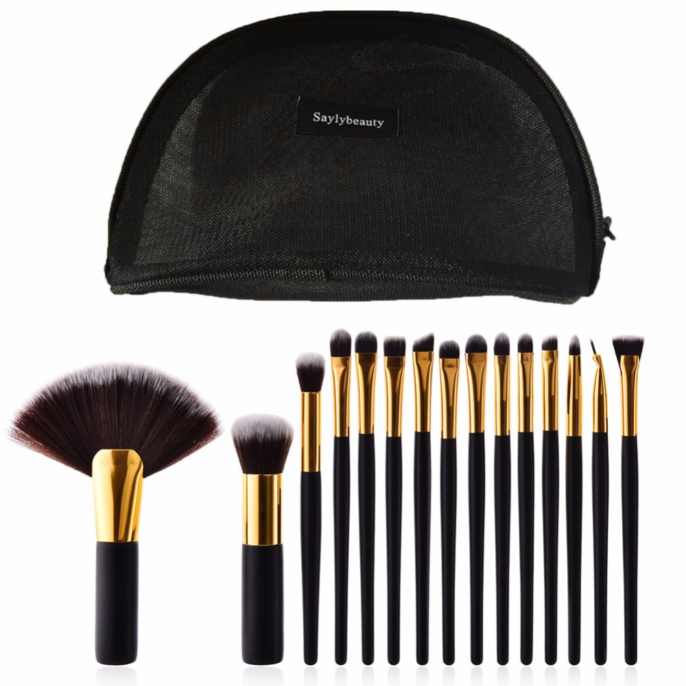 Saylybeauty 15pcs/set Professional Makeup Eye Brushes Set Make up Brush Tools kit Foundation Powder Brushes Makeup Tools 15pcs set white rose gold professional cosmetic makeup brushes set make up brush tools kit eye liner eyeshadow brush kits