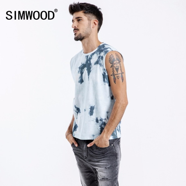Simwood 2018 Summer Men Tank Tops Fashion O-Neck Sleeveless Print Vest Male 100% Cotton Fitness Man Casual Slim Tees 180353