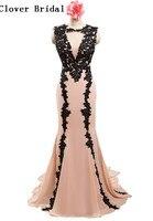 Real Sample Black Appiques Light Pink Mermaid Chiffon Long Prom Dressvestido Para Festa Vestidos De Vestido