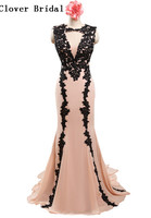Real Sample Black Appiques Light Pink Mermaid Chiffon Long Prom Dressvestido Para Festa Vestidos De Vestido
