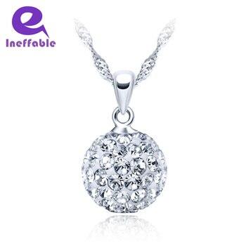 9ed36e62cd89 Inefable Simple collares con colgante redondo de plata de diamantes de  imitación 925 capa cadena Zircon