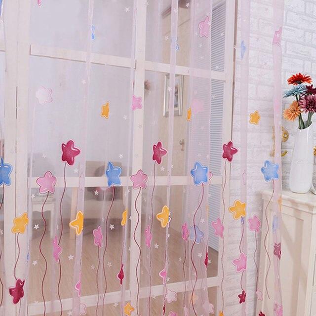 1 STÜCKE New Tulle Voile Gardinen Für Kinder Mädchen Schlafzimmer Schöne  Cartoon Star Print Fenster Vorhänge Wohnzimmer Home Textil