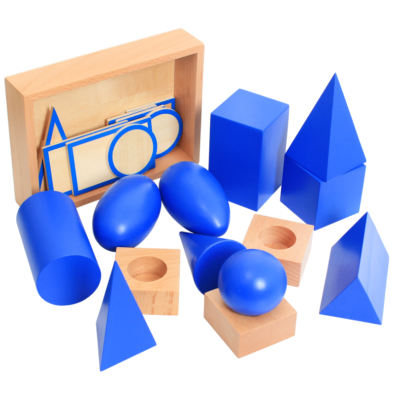 Jouets Montessori en bois bébé Montessori géométrique solides éducatifs jouets d'apprentissage précoce pour enfants cadeau d'anniversaire MI2544H