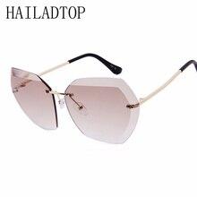 With Sunglasses Case Luxury Rimless UV400 Oversized Designer Female Glasses Frameless Cat Eye Ladies Eyewear