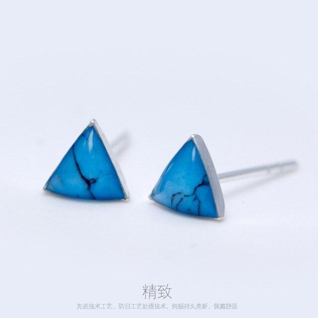 c7722d009 100% Genuine 925 Sterling Silver Triangle Stud Earrings Turquoise Green  Nature Stone, Stud Earrings GTLE255