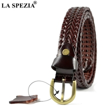 LA SPEZIA Braided Leather Belt Ladies Designer Waist Belts Burgundy Women Pin D Shape Buckle Casual Female Belt Black Brown 2019 мужской ремень braided belt pin hhm 021