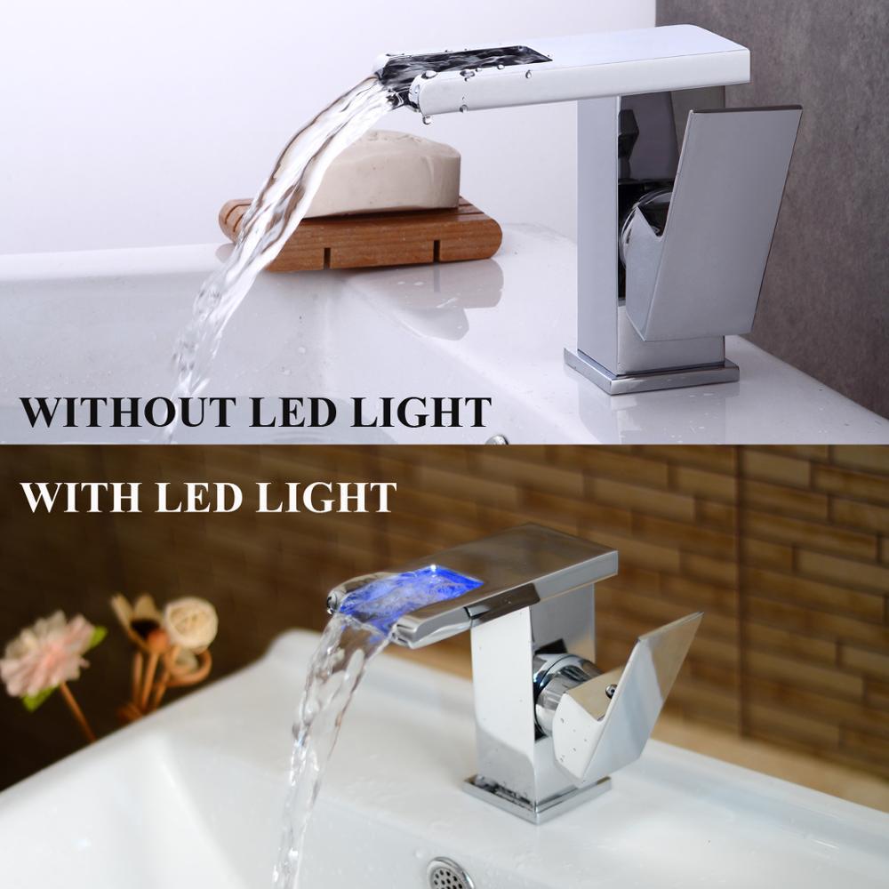 OUYASHI salle de bain bassin robinet pont lumière LED et sans lumière LED mitigeur robinet d'eau cascade